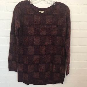 Lucky Brand Checkered Sweater Sz XS Fuzzy Metallic
